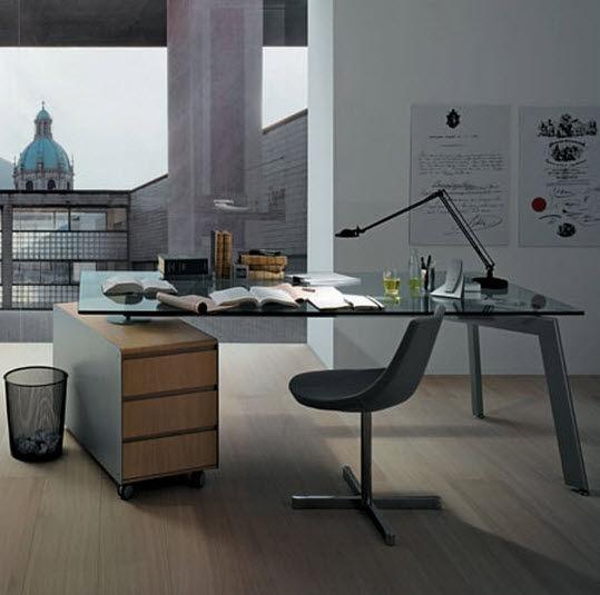 escritorio de vidrio moderno LINK by Hannes Wettstein DESALTO spa