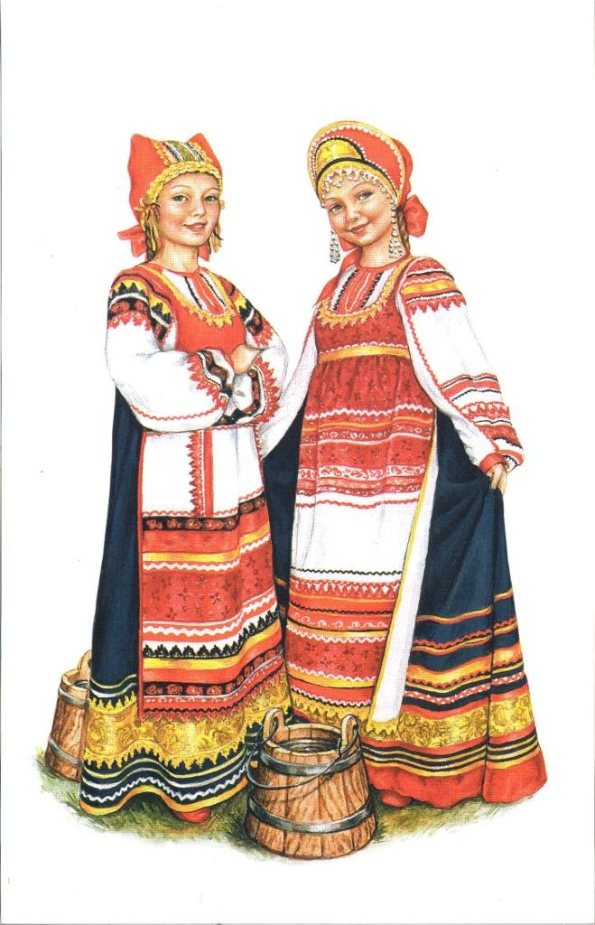 Drawing of girls in outfits from the Kaluga region.