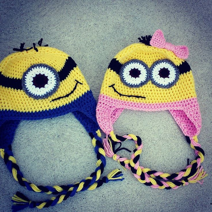 Minions, Crocheted Minion hats for the family <3, gifts for kids by KAKcrochet on Etsy