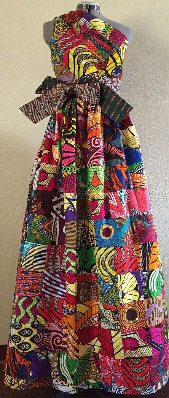 Magnifique Patchwork réversibles une épaule robe Maxi par WithFlare