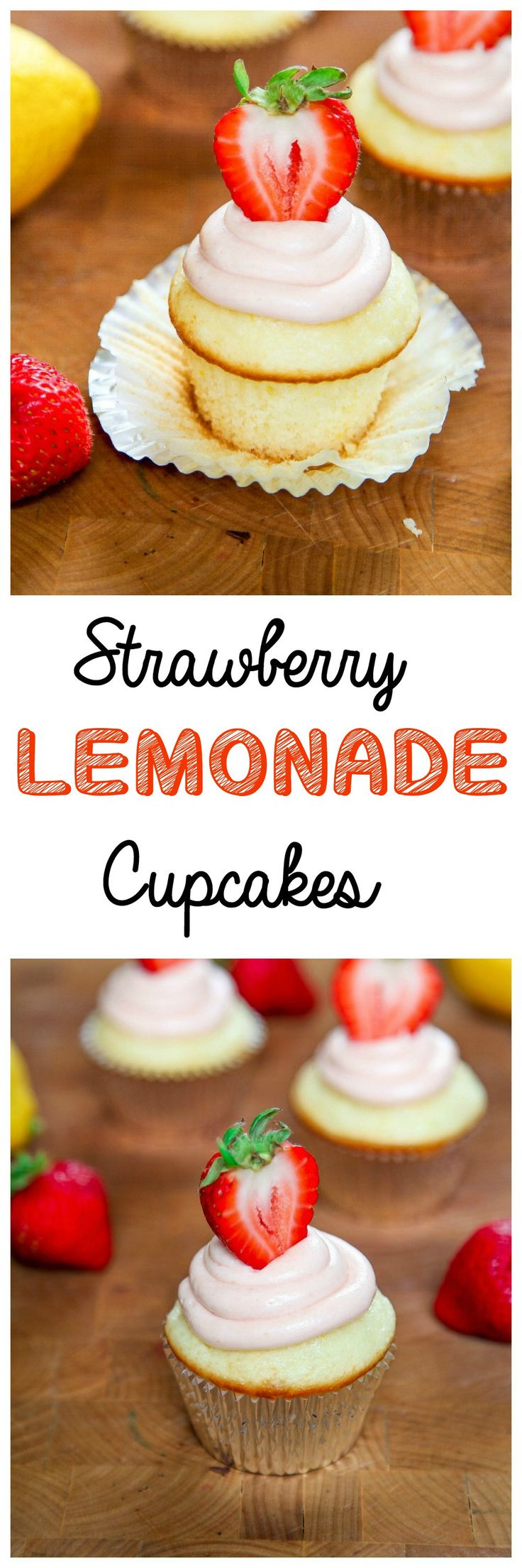 Strawberry Lemonade Cupcakes: Tangy lemon cupcakes topped with a creamy strawberry buttercream. Your favorite summer drink, in cupcake form!