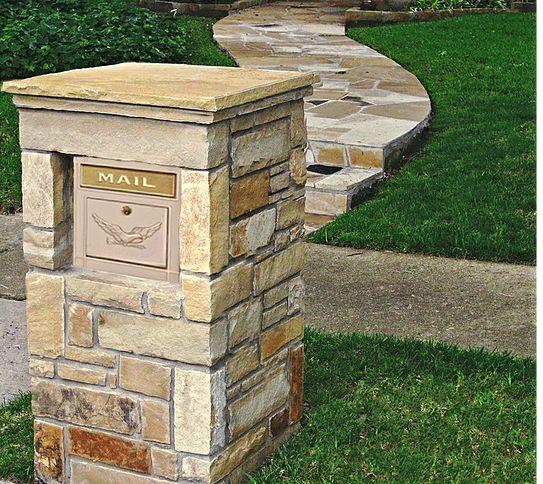 Stone Column Mailbox With Modern Locking Column Insert
