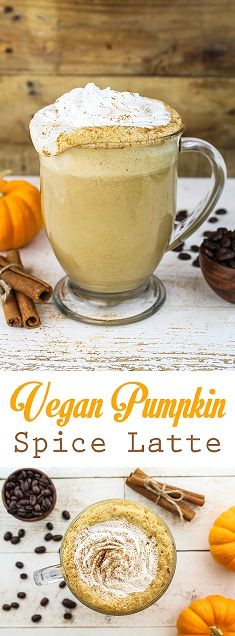This Vegan Pumpkin Spice Latte is rich, creamy, frothy and aromatic. It's free of refined sugar, dairy, and gluten.