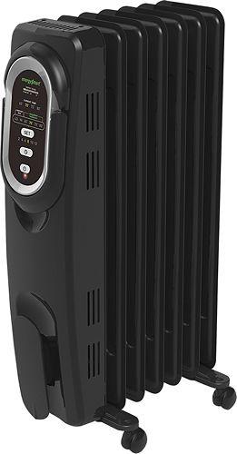 Honeywell - EnergySmart Electric Radiator Heater - Black/Chrome (Black/Grey)