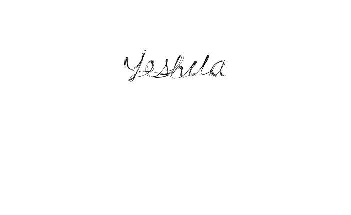 Tatuagem do nome Yeshua utilizando o estilo Drunk Tattoo