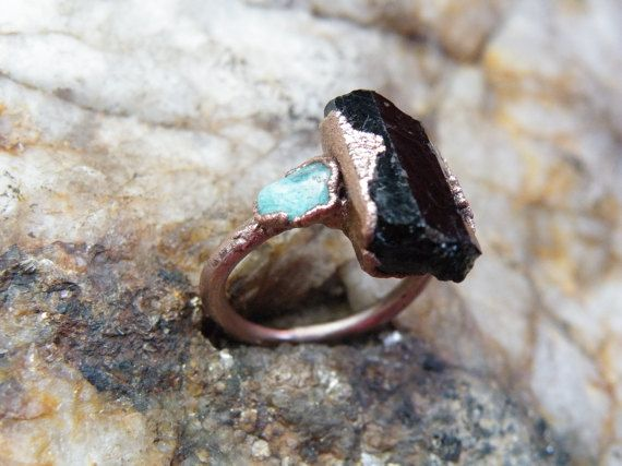Check out this item in my Etsy shop https://www.etsy.com/listing/495329242/tourmaline-ring-electroformed-ring-black