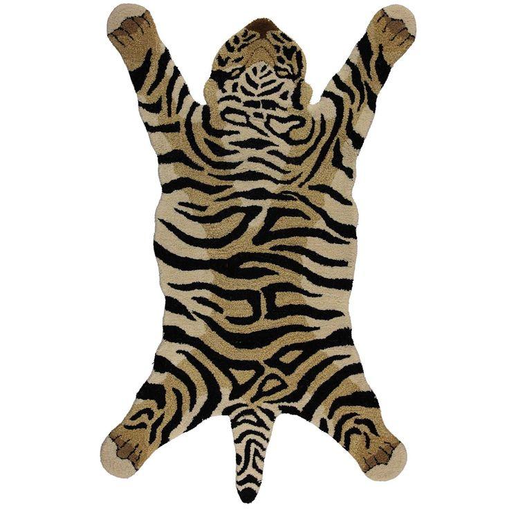 Vloerkleed tijger groot, Bruin