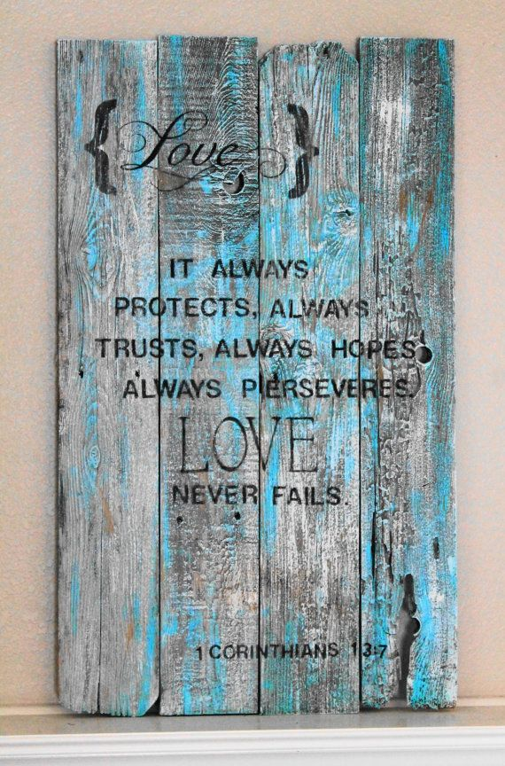 reclaimed wood sign $148.99 #reclaimed_wood #wood_sign #vintage_sign #love_never_fails love the colors