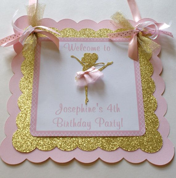 Ballerina Birthday Name Banner Pink and Gold by ThePartyPaperFairy