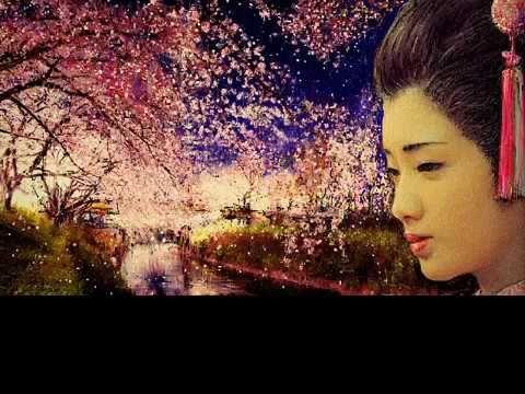 YamaguchiMomoe 山口百恵さんをお絵描きし、背景は春の小川の桜を描きました。