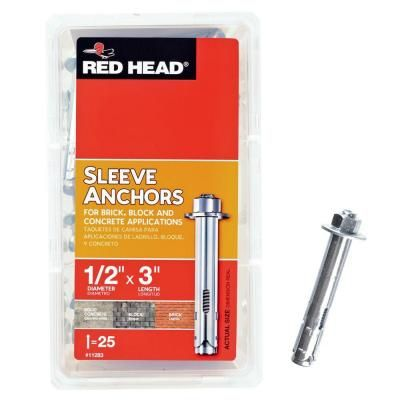 Red Head 1/2 in. x 3 in. Steel Hex-Nut-Head Sleeve Anchors (25-Pack)-11283 - The Home Depot