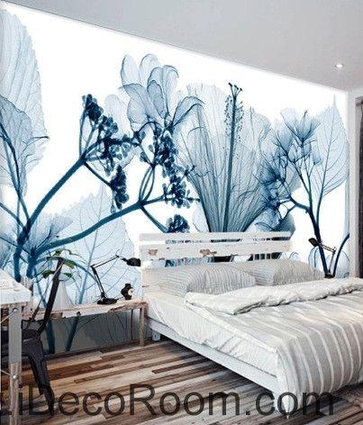 Beautiful Dream Fresh Blue Eucalyptus Flowers Lily Flowers Transparent Wall  Art Wall Decor Mural Wallpaper Wall