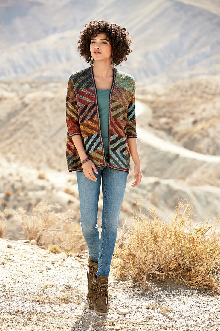 This is amazing. Love this Kaffe Fassett pattern! Navala Kimono, Ava Skinny Jeans, Verdigris Brass Cuff, Copper-Hued Brass Cuff