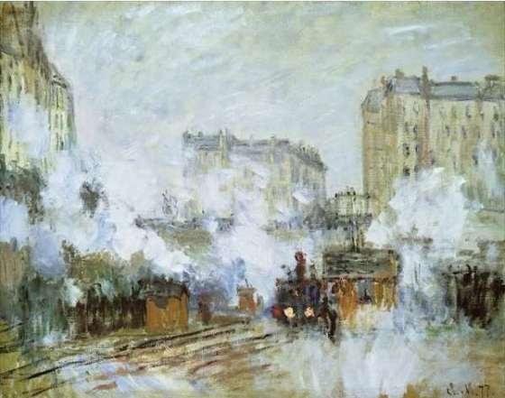 © Monet exterieur de la gare St Lazare arrivee d un train