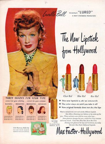 "Lucille Ball starring in ""Lured"" for Max Factor Hollywood (1947).- She was in a lot of dramas before she was on I Love Lucy."