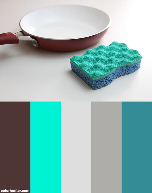Blue+Sponge+Next+To+Pan+On+White+Background+Color+Scheme
