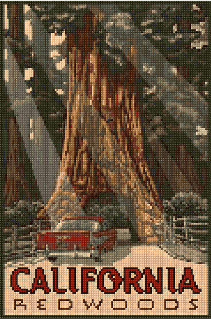 Cross stitch pattern Vintage California Redwoods poster PDF - New EASY chart with one color per sheet AND regular chart! Two charts in one! by HeritageCharts on Etsy