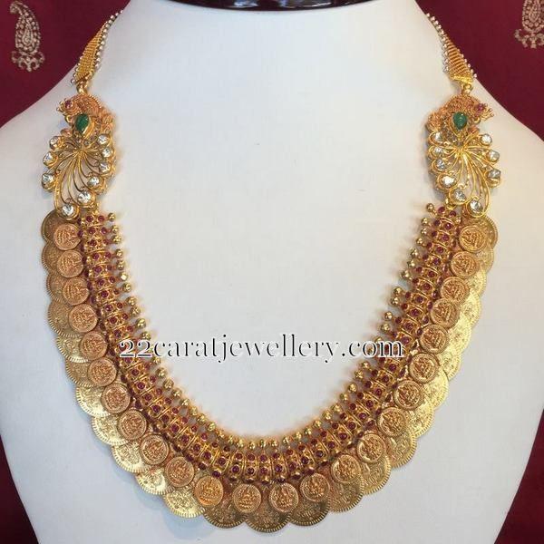 Short Kasu Mala with Jhumkas | Jewellery Designs