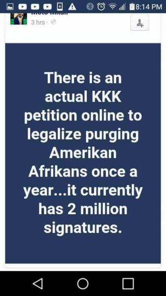 Ku Klux Klan Petition To 'Purge' Black People In The United States Started With Hoax News Web Site #business