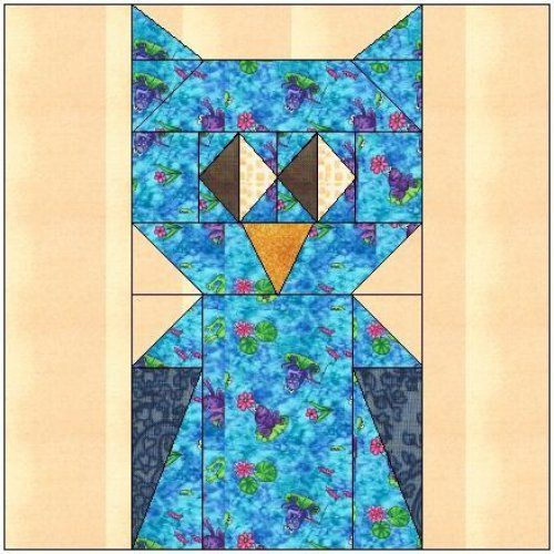All Stitches Owl Paper Piecing Quilt Block Pattern Pdf