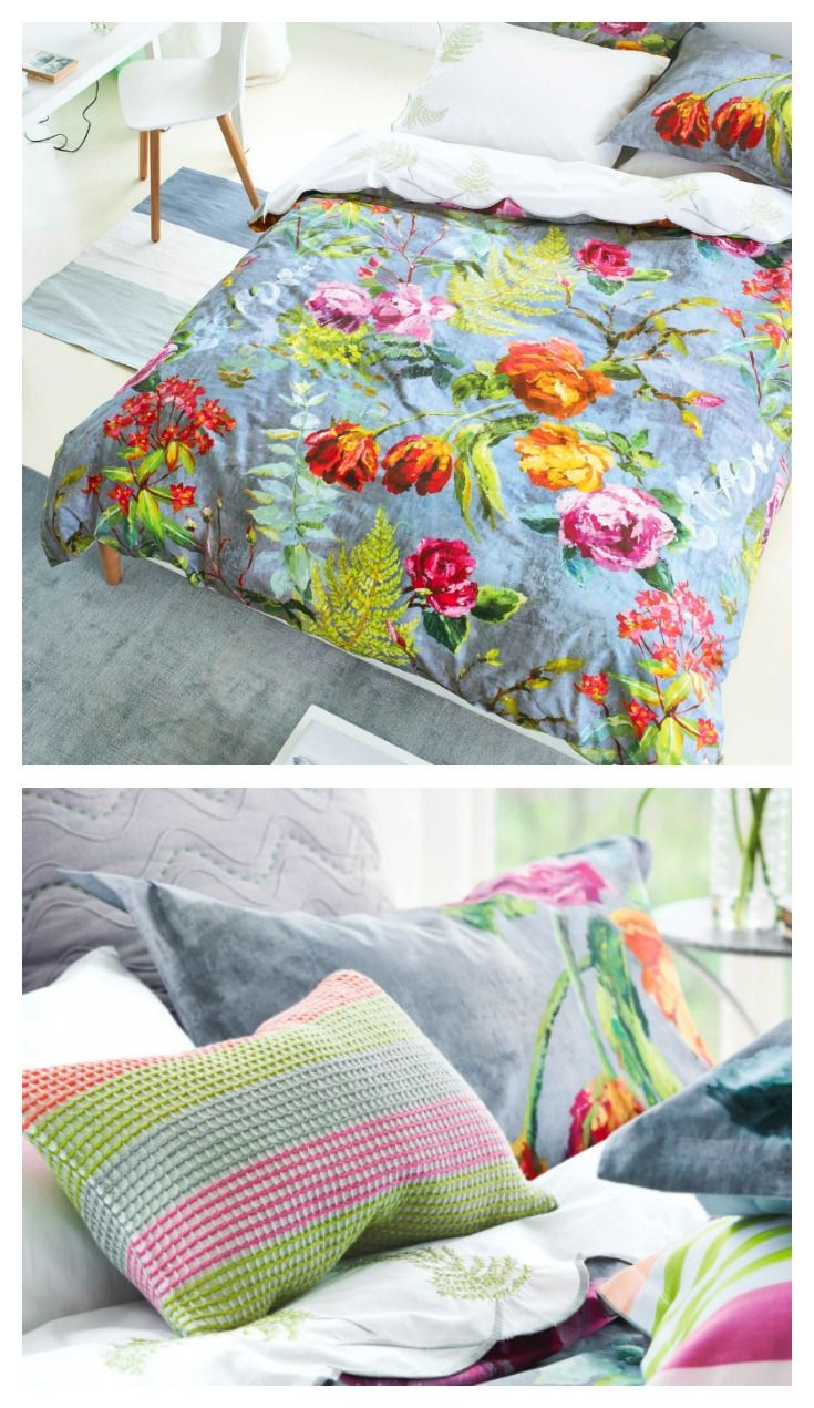 A stunning double duvet cover featuring the beautiful Tulipani design by Designers Guild.