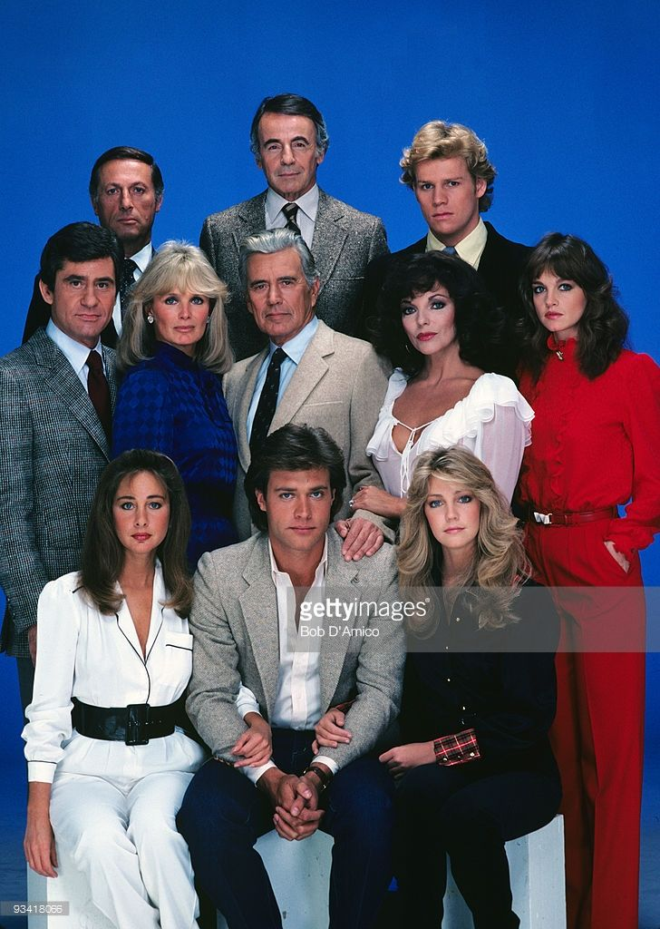 DYNASTY - gallery - Season Two - 11/4/81, Pictured, top row, left: Lloyd Bochner (Cecil), Lee Bergere (Joseph), Al Corley (Steven); middle row: James Farentino (Nick), Linda Evans (Krystle), John Forsythe (Blake), Joan Collins (Alexis), Pamela Sue Martin (Fallon); bottom row: Pamela Bellwood (Claudia), John James (Jeff), Heather Locklear (Sammy Jo) ,