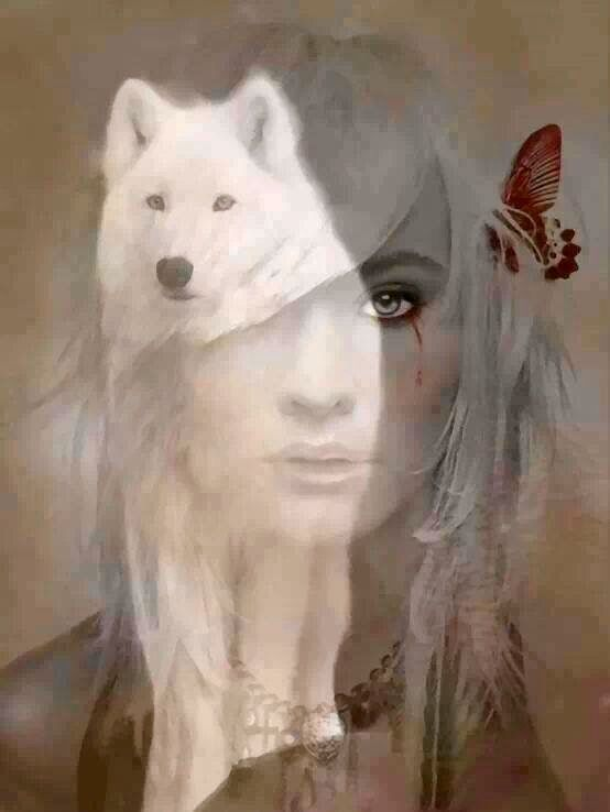 White wolf and butterfly lady, so pretty! Blended digital art.