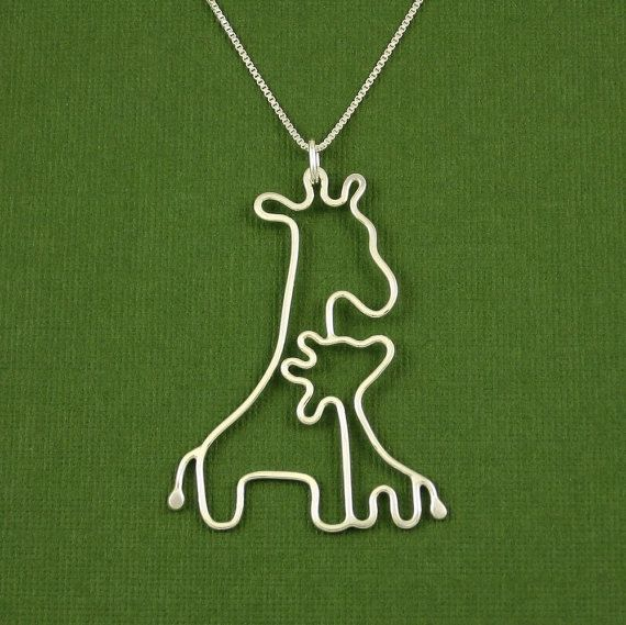 Giraffe Necklace Mother and Baby Sterling Silver 18 by Dragonfly65, $60.00