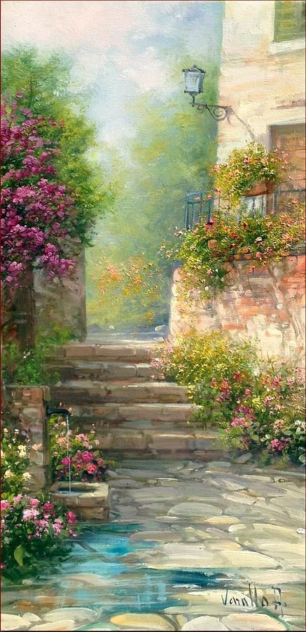 Bloomed Alley Painting by Antonietta Varallo