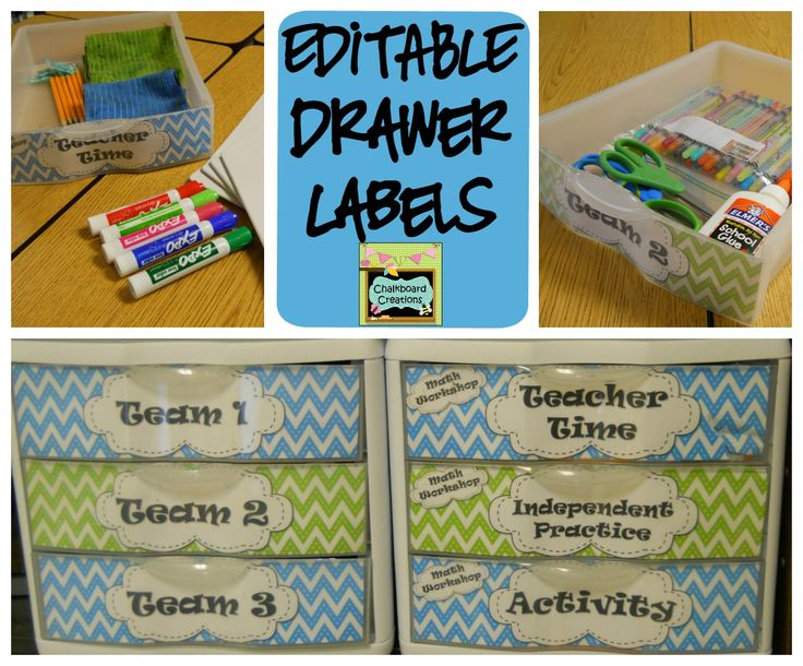 EDITABLE blue, green, and pink chevron plastic drawer labels! Tons of premade labels to keep your classroom organized. Plus, editable labels to meet all your organizational needs! #classroomorganization #drawerlabels #chevron #TpT #teacherspayteachers