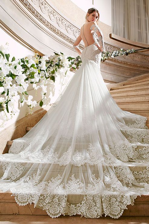 Lace wedding dress with illusion back, long sleeves and incredible chapel train. Moonlight Couture, Spring 2016