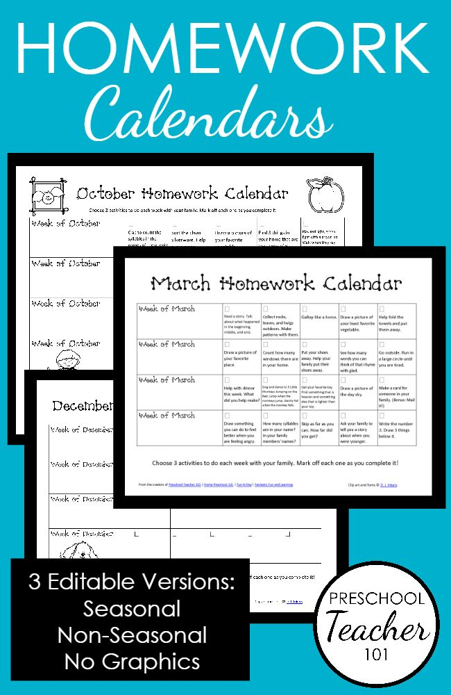 Kindergarten Readiness Calendar : Ideas about preschool homework on pinterest