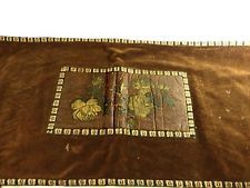 Victorian Table Runner Leather Applique Brown Velvet and Gold Metallic Antique