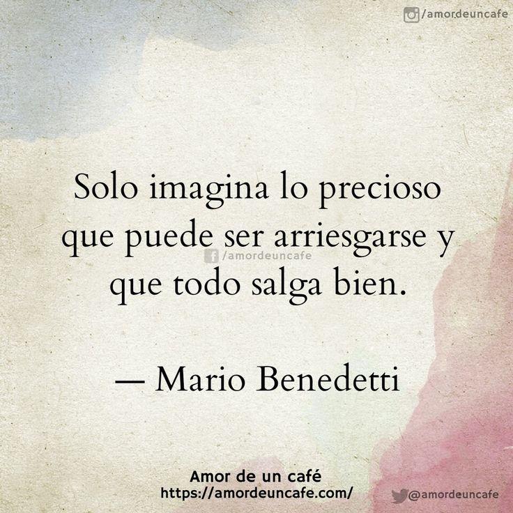 Solo imagina lo precioso que puede ser arriesgarse y que todo salga bien. Mario Benedetti
