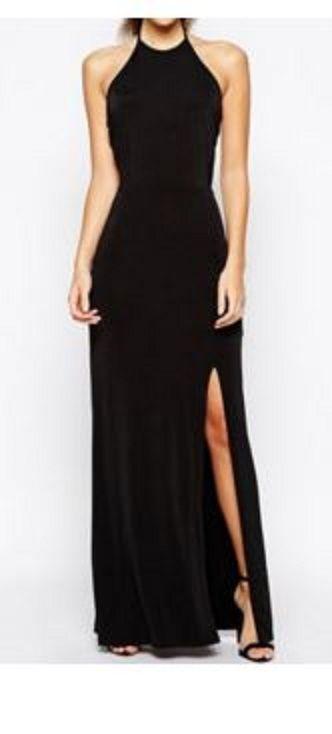 Sexy Black Halter Neck Backless High Slit Maxi Dress For Women