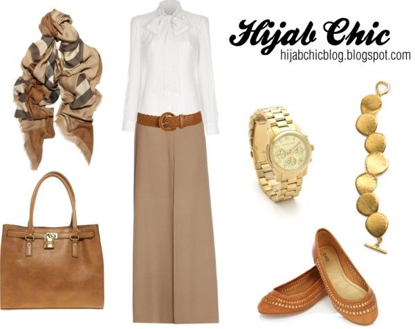 """Hijab style inspiration: beige skirt"" by vanillagurl88 on Polyvore"