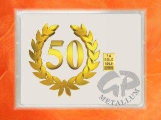 1 g Goldbarren in Geschenkkapsel mit 50 Jahre Motiv & Gratulation Schriftzug- Flipmotiv- je nach Blickwinkel ändert sich das Bild http://www.gp-metallum.de/1-Gramm-Gold-Geschenkbarren-Flipmotiv-Jubilaeum-50-Jahre