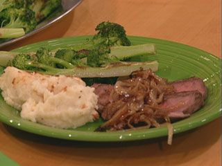 London Broil with Smothered Onions and Crispy Smashed Potatoes