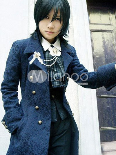 Blue Full Length Cotton Blend Classic Lolita Coat.  Via Milanoo