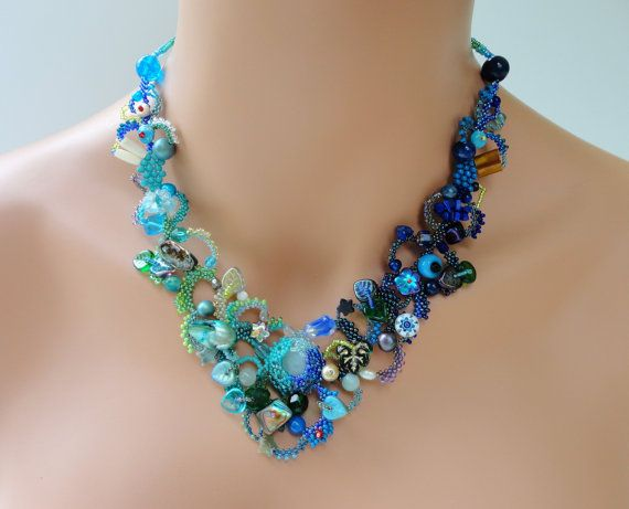 SALE ENDS AUGUST 31 - Freeform Peyote necklace Blue Lagoon