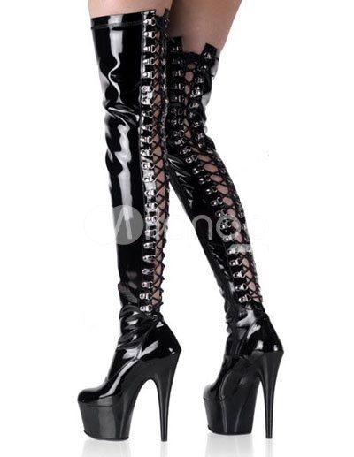 Image result for P1827 Sexy Front Lace up Model Show Pole Dance 15CM High Knee High Boot Cosplay Shoes for sale