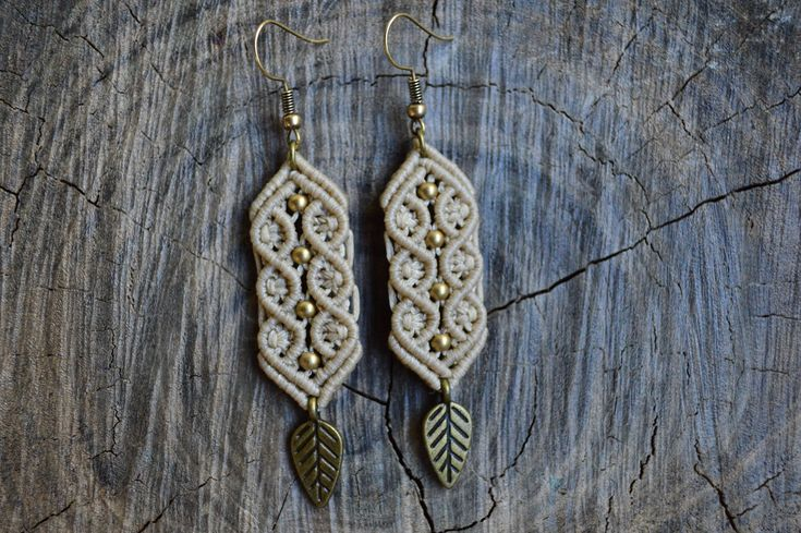 Macrame earrings with brass leaf and beads   Boho macrame earrings with high quality beige waxed cord by IndigoMacrame on Etsy