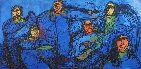 Título: Banda de músicos Fernando Carballo Técnica: Dripping con tintas offset sobre madera Medidas: 240 cm x 120 cm Año: 2015
