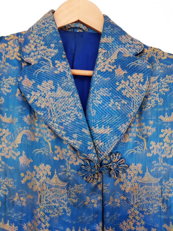 VTG Stunning Japanese 50's Men's Women's Silk Brocade Smoking Kimono Jacket Striking Royal Blue and Gold Colours Handmade Eclectic Stylish by semelesparlour on Etsy