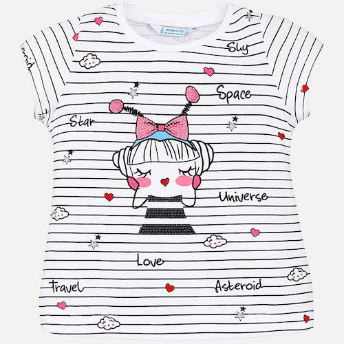 This ivory t-shirt by Mayoral has a beaded girl print with stripes, clouds and stars. It is made in a soft cotton jersey with good stretch, and can be easily machine washed.