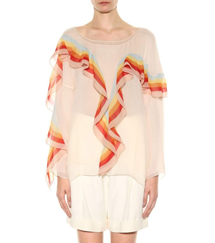 Multicoloured ruffled silk blouse via @weweartodayID