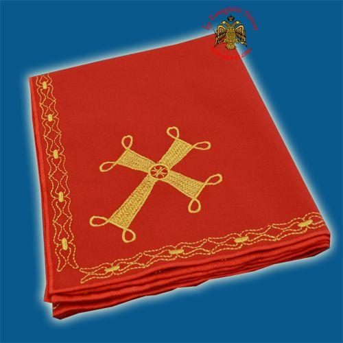 Maktro Holy Communion Divine Liturgy Purificator Burgandry Cotton Cloth with Gold Thread Cross