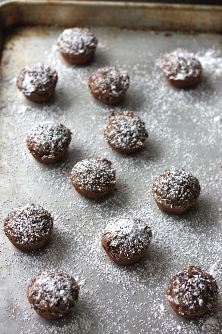 Nutella bites - 1/2 cup Nutella, 2 eggs, 1/2 cup sugar, 1/4 cup milk, 1 tsp vanilla, 1/2 cup all-purpose flour (whisk first 5 ingredients, whisk in flour) Bake 350 in greased mini muffin pan (24) for 14-15 minutes. Dust with powdered sugar - delicious