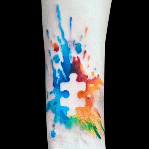 Mens Autism Puzzle Piece Tattoos Watercolor On Wrist More
