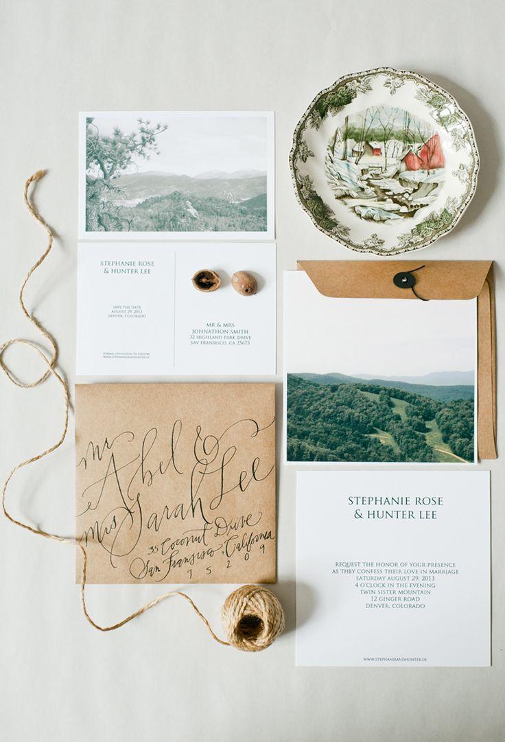 Neutral mountain wedding invites